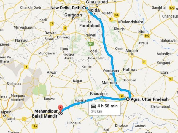 Mehandipur Balaji Route Map via Agra
