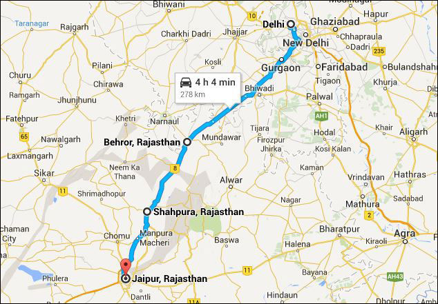 delhi-jaipur highway route map