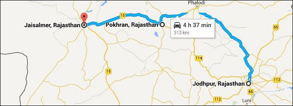 jodhpur-jaisalmer-route map