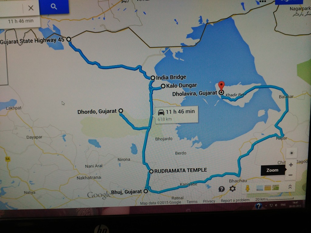 Today's route map from Google Maps