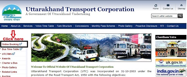 Uttrakhand roadways website