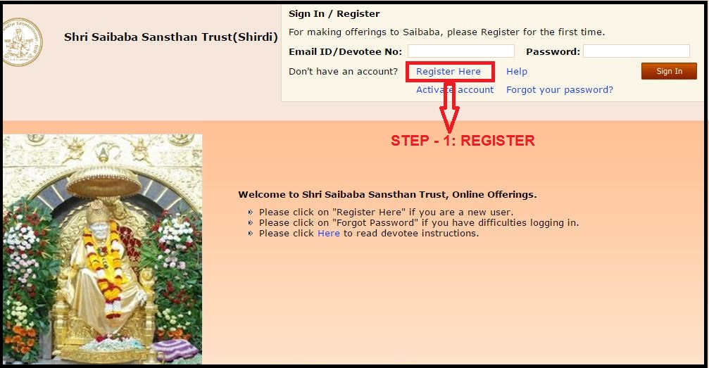 Register on Sai Sanshtan Trust Website